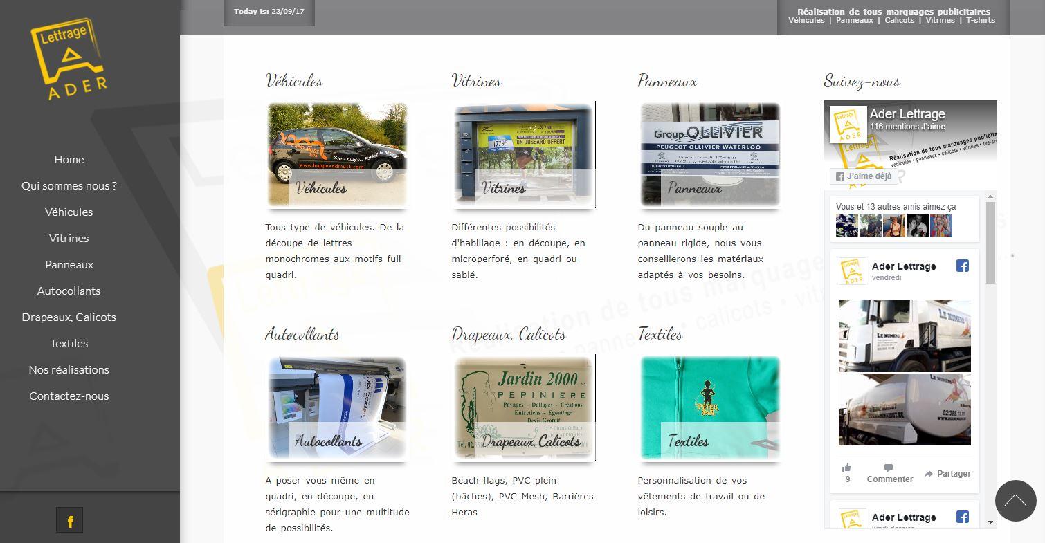 Ader Lettrage, site internet