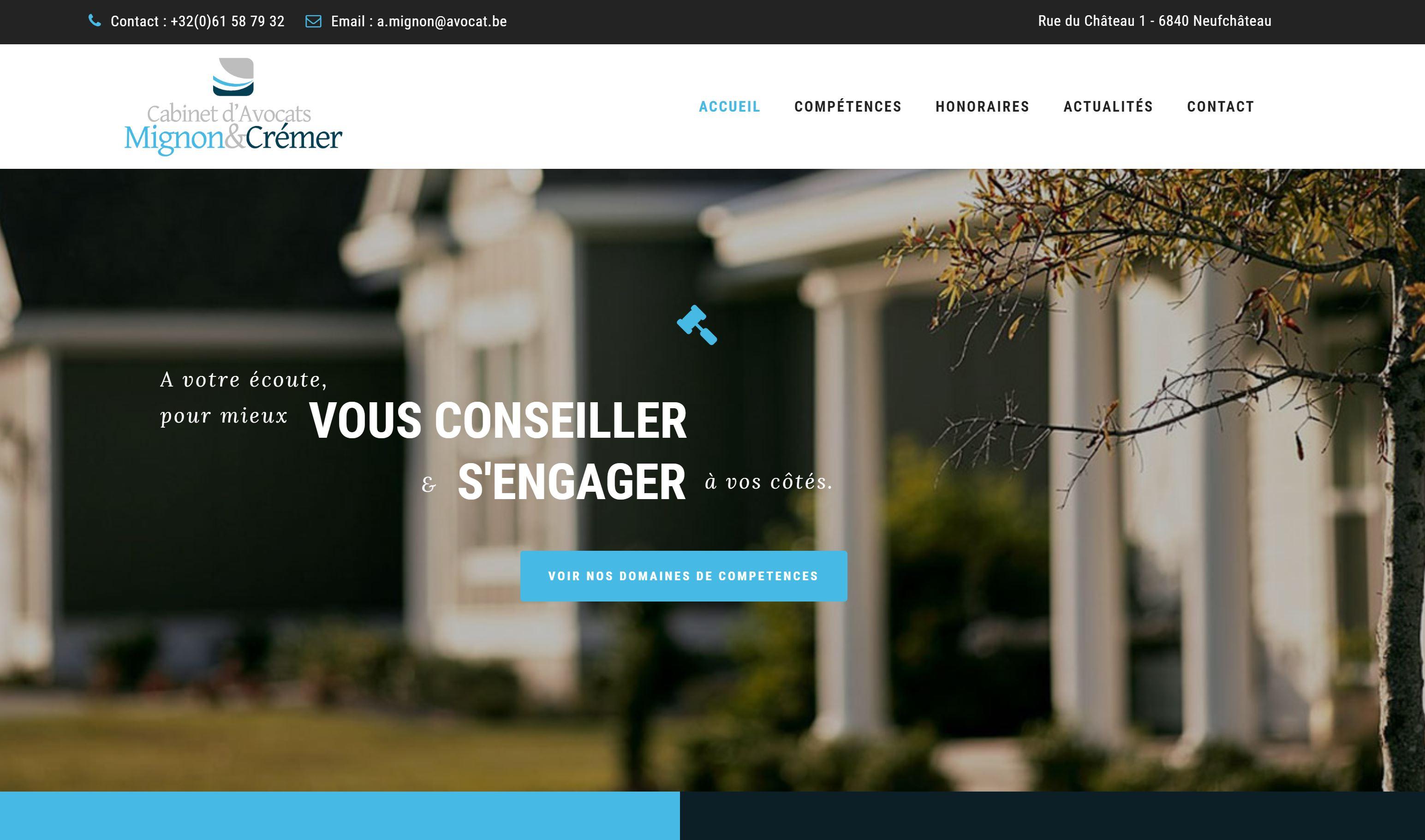 Cabinet d'avocats Mignon & Crémer, site internet